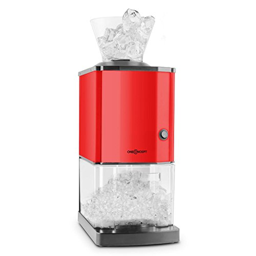 oneConcept Icebreaker - Ice Crusher, Eiscrusher, Eiszerkleinerer, 15 kg/h, 3,5 Liter (etwa 1,75 kg) Eisbehälter, aufsetzbarer Einfülltrichter, Sicherheitsschalter, rot