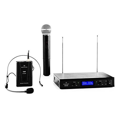 Malone VHF-400 Duo 3-2-Kanal VHF-Funkmikrofon Set, Funk-Mikrofon System, 1 x kabelloses Handmikrofon, 1 x kabelloses Headset Mikrofon, 50 m Reichweite, Rauschunterdrückung, schwarz
