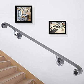 Happybuy Stair Handrail Five Step Stair Rail 5ft Length Modern Handrails for Stairs Gray Wrought Iron Indoor Handrail for Stairs 200lbs Capacity Wall Mounted Stairway Railing with Brackets