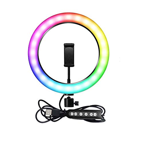 Kit Completo Anel de Luz LED Com Tripé e Suporte para Celular Ring Light 26cm RGB 10 Polegadas Fotos e Vídeos Profissionais