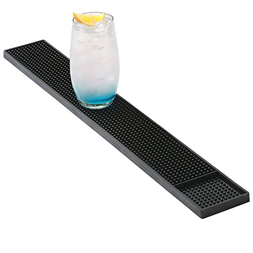 TANCUDER Tappetino da Bar in PVC Morbido 60.5 x 10cm Rettangolare Tappetino Scolapiatti per Bancone Lavabile Antiscivolo Mat da Bar Antiversamento per KTV Casa Caffetteria (Nero)