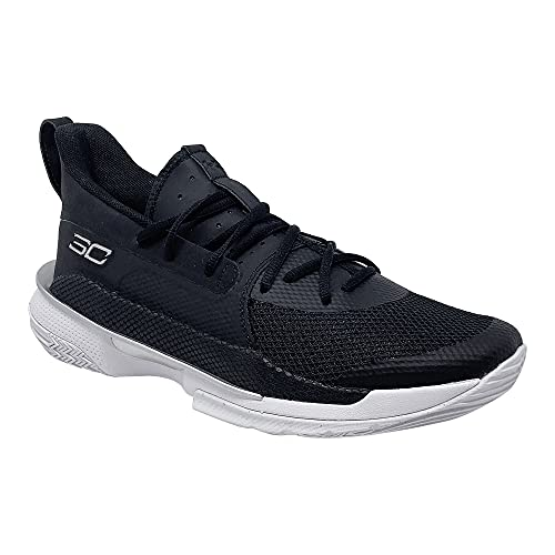 Under Armour Mens Curry 7 Basketball Shoe (Black/White/Metallic Silver, Numeric_12_Point_5)
