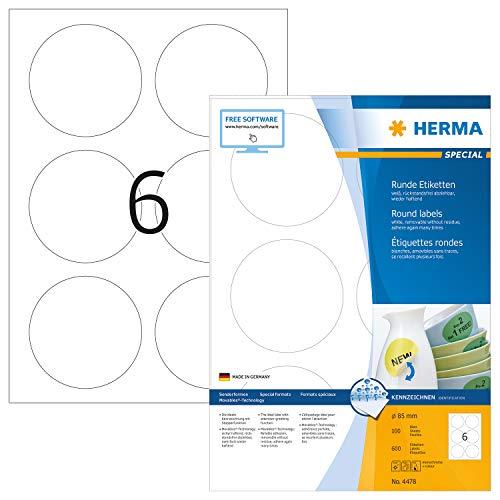 HERMA 4478 Universal Etiketten DIN A4 ablösbar (Ø 85 mm, 100 Blatt, Papier, matt, rund) selbstklebend, bedruckbar, abziehbare und wieder haftende Adressaufkleber, 600 Klebeetiketten, weiß