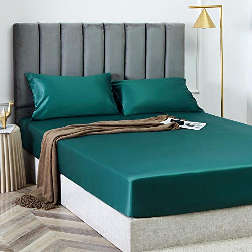 N / A Deep Fitted Bed Sheet King,King size bed sheet single cotton silk satin sheet bed cover non-slip mattress protector for double king-green_200cmx200cm*25cm
