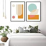 arte de pared de geometría abstracta en forma de círculo en forma de triángulo cuadros de pintura en lienzo para la decoración del hogar de la sala de estar 2 piezas 40x60 cm / 15.7 'x 23.6' Sin marco