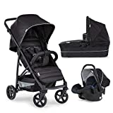 Hauck Rapid 4 Plus Trio Set, 3-in-1 Travel System with Carrycot + Car Seat for New Borns, from Birth to 25 kg, One Hand Fold, Compact, Black