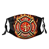 Rescue Courage Fire Honor Face Mask Reusable Adjustable Balaclava Bandana Cloth With 2 Filters For Men And Women Outdoors