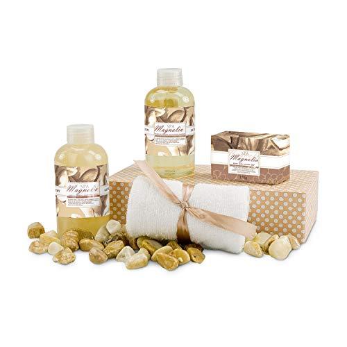 Römer Wellness Geschenkset: Magnolia Spa, 5-teilig: 180 ml Duschgel, 180 ml Shampoo, 100 g Seife und 1 Gästetuch + Geschenkbox, Duft: Magnolie, 700 g