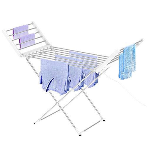 Leogreen - Estante Eléctrico de Lavandería, Secador de Tela a Calefacción, Clásico, Blanco, Tamaño Plegado: 113 x 53 x 7 cm, Longitud del Cable: 1,2 m