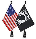 E-Most Adjustable 6' x 9' American Flag + Flagpole Mount & 6' x 9' POW MIA You are Not Forgotten Flag + Pole Mount, for Harley Davidson Honda Goldwing CB VTX CBR Yamaha