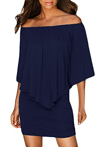 Sidefeel Women Off Shoulder Ruffles Party Mini Dress X-Large Navy