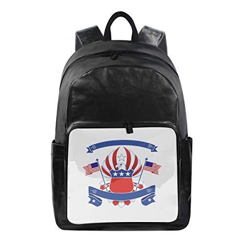 FANTAZIO Mochilas American Eagle Bandera Badge School Bag Mochila de lona con cremallera