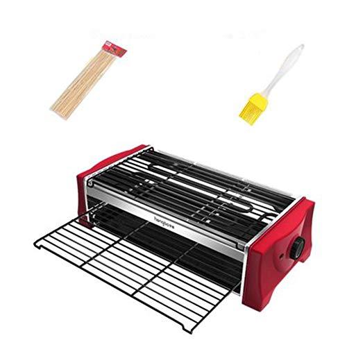 Barbacoa Electrica, con 2 Alturas para Cocinar Sano Antiadherente Libre Muy Resistente Al Rayado Facil Limpieza 2000 WLarge Non-Stick Mesh