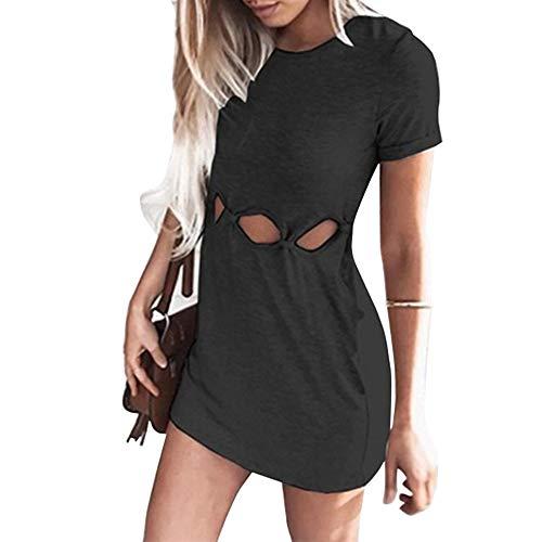 TSWRK dames strakke jurk zomerjurk ronde hals korte mouwen jurk onregelmatig mini-jurk partykleding zwart