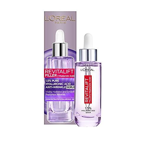 L'Oréal Paris Hyaluron Serum, Revitalift Filler, Anti-Aging Gesichtspflege, Anti-Falten, Mit 1,5% purer Hyaluronsäure und Vitamin C, 50 ml