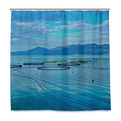 ZANSENG Duschvorhang Lachs Bauernhof Fjord Zwischen Bergen Western mit Haken Polyester Druck dekorativer Badvorhang, modernes Badezimmerzubehör, 183 x 183 cm