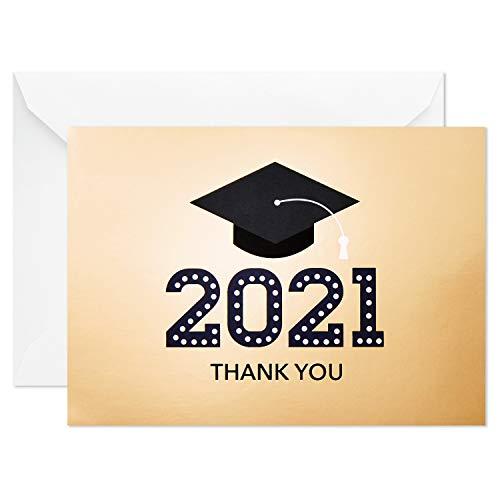 Hallmark 2021 Graduation Thank You Cards, Gold Graduation Cap (20 Thank You Notes with Envelopes)