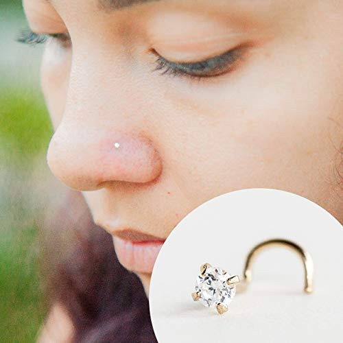 Cubic Zirconia Nose Ring | Solid 14k Yellow Gold | Handmade 22 Gauge Twist 3 mm CZ Stud Piercing Jewelry | Curved Clear Crystal Stud | Nickel Free~(test results in photo's)