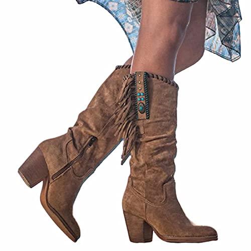 Botas Altas De Vaquero De Las Mujeres, Gamuza De Gamuza Redonda De Gamuza, Botas De Rodilla Occidental, Moda Botas De Tacón Alto con Borlas (Color Múltiple)(Size:40,Color:B)