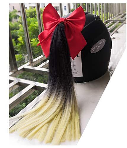 3T-SISTER Helm Pigtails mit Bow Knot 14 Zoll Helm Pferdeschwanz Dekoration für Motorrad Fahrrad Ski Helm Zubehör Wiederverwendbare Saugnapf Strass Design Ombre schwarz bis blond