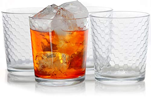 Circleware Paragon Honeycomb Set of 4 Whiskey Glasses Drinking Glassware for Water, Juice, Ice Tea, Beer, Wine and Bar Barrel Liquor, 12.5oz, 4pc DOF