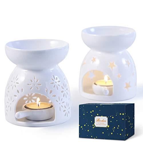 Bochee Brucia Essenze Ceramica Bruciatore Candele Set da 2 Disegno Stella e Fiore, Aromaterapia, Bruciatore Oli Essenziali con Portacandele, per Decorazione Casalinga Regalo per Meditazione