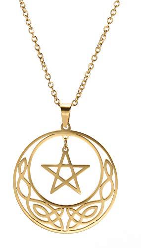cooltime Edelstahl Pentagramm Anhänger Kette Keltischer Knoten Kreis Halskette Glücksbringer Schmuck für Damen (Gold Stil 2)