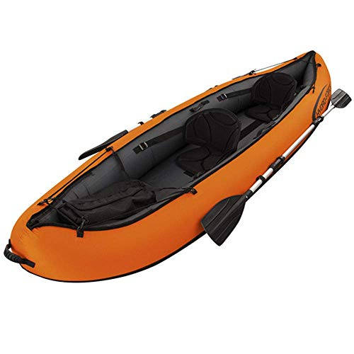 Zixin Inflatable Kayak 2 Pson Kayak,Sit On Kayak Kayak with Aluminum Oars and Manual air pump Ideal for Lakes or Sea Shores (Color : Red)
