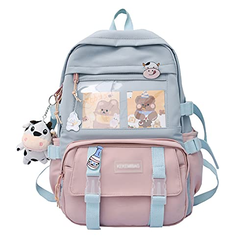 notebook kawaii ZJTFGD Kawaii Backpack with Kawaii Pin and Accessories-Cute Aesthetic Backpack for School-Notebook School Bag Travel Backpack Waterproof School Supplies (Pink)