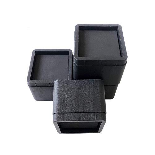 Bett- und Möbelerhöhung, strapazierfähig, verstellbar, 4 Stück, stapelbar, quadratisch, schwarz, für Couch, Schreibtisch, Sofa, Stuhl, Tisch