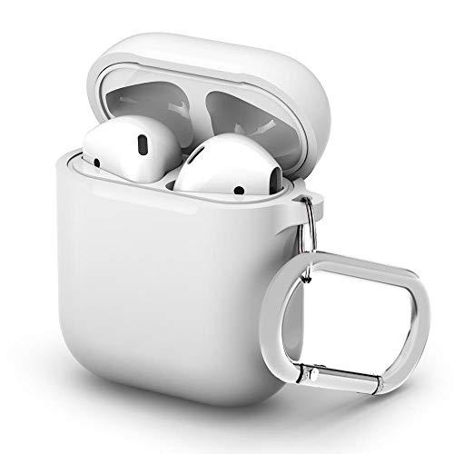 TRBOL Airpods Case Metall 2019 - Carcasa de Silicona antigolpes con mosquetón para Apple AirPods 1 y 2