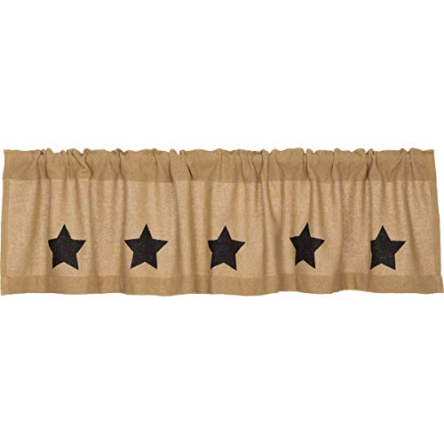 VHC Brands Burlap with Black Stencil Stars Valance 16x72 Country Curtain, Tan
