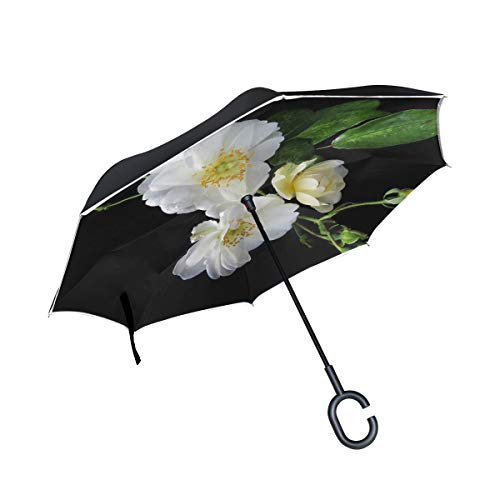 NQEONR Double Layer Inverted White Rose Black Umbrellas Reverse Folding Umbrella Windproof Uv Protection Big Straight Umbrella for Car Rain Outdoor with C-Shaped Handle