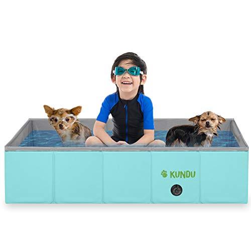Kundu Rectangular (37' x 24' x 10') Heavy Duty PVC Pets & Kids Outdoor Pool/Bathing Tub - Portable & Foldable - Medium