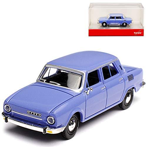 Herpa Skoda 110L S100 Limousine Tauben Blau 1969-1976 H0 1/87 Modell Auto mit individiuellem Wunschkennzeichen