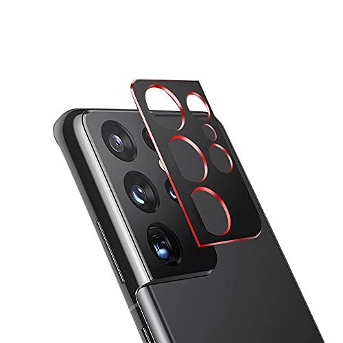 Samsung Galaxy S21 Ultra 5G用 カメラレンズ 保護 メタルカバー レンズカバー サムスン ギャラクシー S21ウルトラ レンズ プロテクター ベゼル[Galaxy S21 Ultra 5G(レッド)]