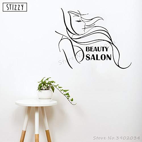 Tianpengyuanshuai Fototapeten Mädchen Friseursalon Wandaufkleber Make-up Friseur Logo Vinyl dekorative Fenster Wimpern 95x75cm