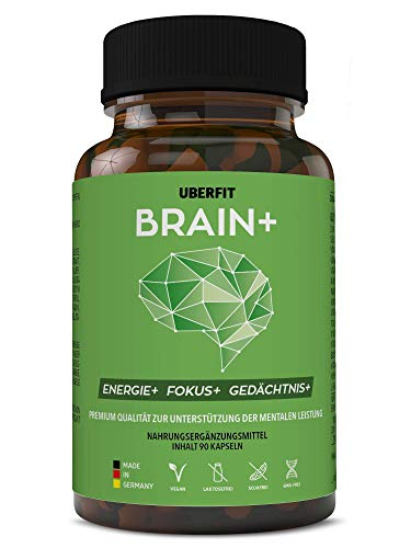 UberFit BRAIN+ Natürlicher Booster für Konzentration und Gedächtnis - mit Cholin, Bacopa Monnieri, Ginseng, Ginkgo, Q10, Koffein, Vitamine uvm - 90 Kapseln Vegan