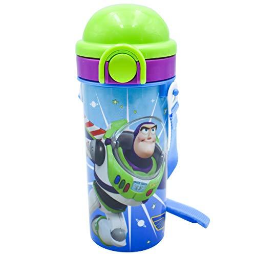 Fun Kids 1669-34 Botella de Agua Disney Toy Story de Plástico Cantimplora de 500 Mililitros Azul con Tapa Verde y Popote