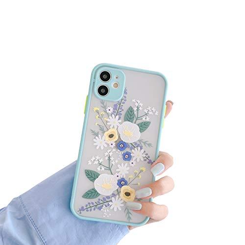 VUTR Funda con Estampado de Flores, diseño Floral, para iPhone 11 [Protector de Lentes Integrado] Diseño poético de Carcasa Opaca Transparente para iPhone 11 - Menta