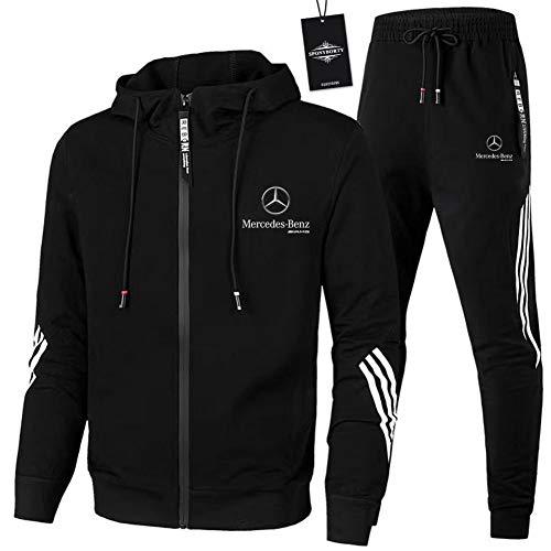 GUCCPAI Herren und Damen Sportanzug Für Mercedes-Ben.Z A.M.G Zweiteilige Jacke Pants Stripe mit Kapuze Trainingsanzug Mantel SPONYBORTY/Schwarz/L