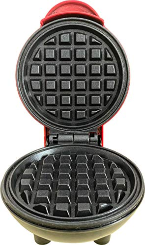 Original LW Mini Maker: Waffle Iron the 4' Waffle Maker Pancake Maker Waffle Making Machine Paninis, Hash Browns Maker for Breakfast Lunch Snacks (4 Inch, Red)