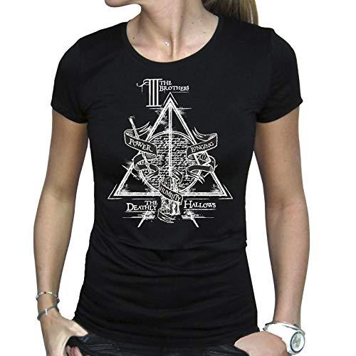 ABYstyle - Harry Potter - T-Shirt - Reliquias de la Muerte - Negro - Mujer (L)