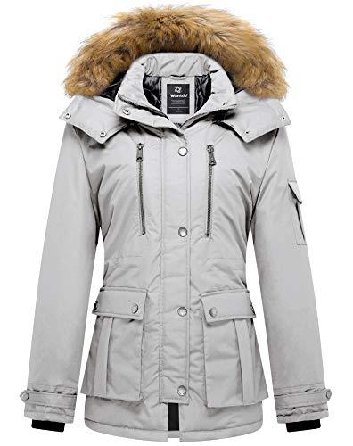 Wantdo Damski zimowy płaszcz bawełniany wyściełany ciepły, wiatroszczelna kurtka outdoorowa klasyczna długość średnia parka sztuczne futro kaptur płaszcze, szary, XL