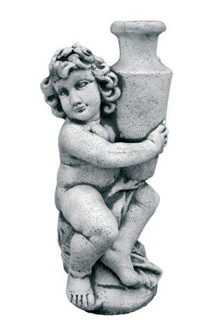 CATART Figura jardín surtidor Fuente Estanque en hormigón-Piedra niño Anfora 22X46cm.