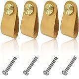 Boyigog 4 Pcs Pomos Tiradores Cuero, Tiradores de Piel para Cajones Vintage para Accesorios de Decoración de Muebles Exquisitos