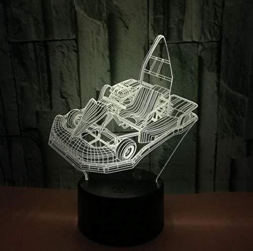 Veilleuse Safety First 3D Kart De Bande Dessinée 7 Couleurs Tactile Lampe De Chevet Chambre Table Art Déco Enfant Lumière De Nuit Avec Câble Usb Nouveauté De Noël Cadeau D'Anniversaire