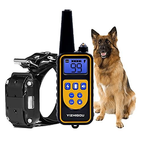 Anti-Bell-Halsbänder mit 800M Fernbedienung,YIZHIGOU Wasserdicht Anti-Bell-Hundehalsbände, Erziehungshalsband Hund Geeignet für große Hunde, mittlere Hunde, kleine Hunde