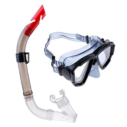 MMI-LX Adultos Profesional de la natación máscara del Salto Anti-vaho Gafas de Buceo Submarino Conjunto del Tubo respirador Piscina Accesorios Deportes de Aventura Diver (Color : Black)