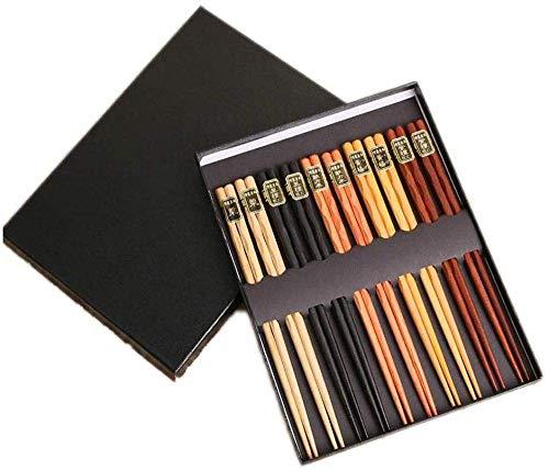 LIZANAN Palillos de regalo 5 colores cabeza redonda artesanía palillos portátil vajilla conjunto 10 pares palillos